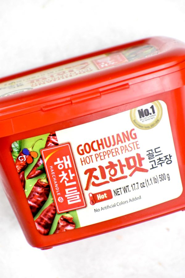 A container of gochujang paste.