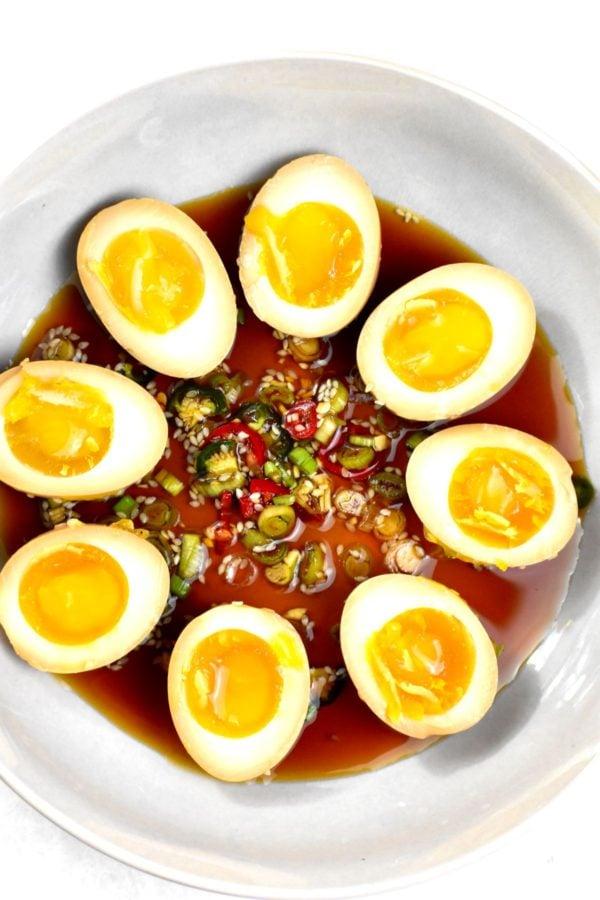 A bowlful of cut mayak eggs.
