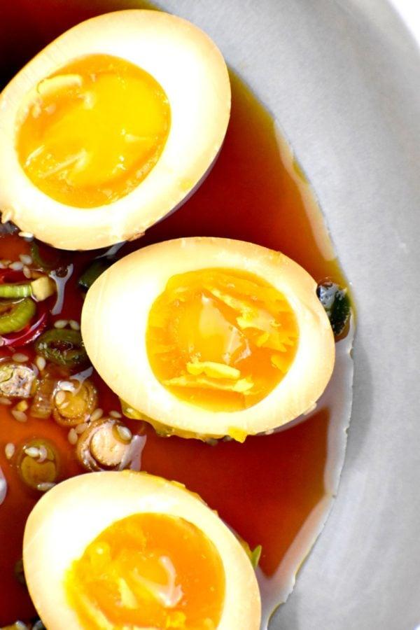 Close up of cut mayak eggs.