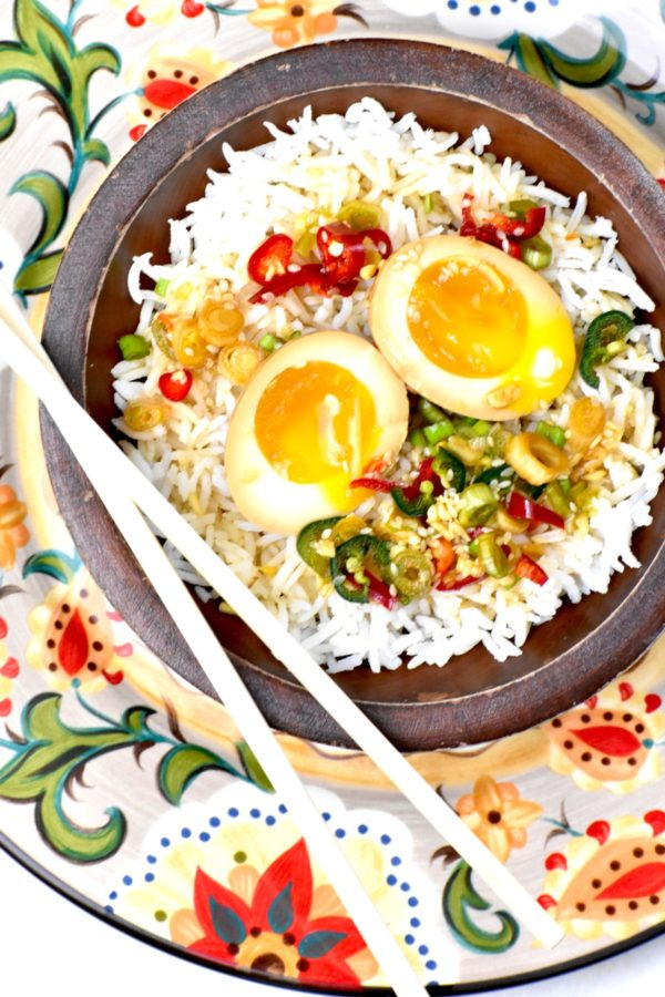 Bowl of rice and mayak eggs atop the Gypsy Plate.