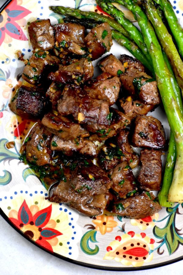 Steak bites and asparagus on the Gypsy Plate.
