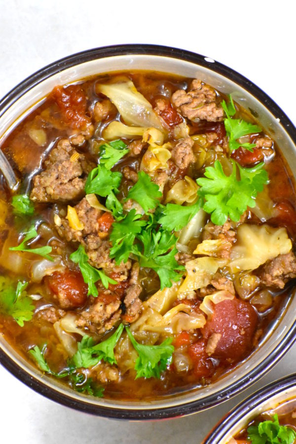 The 40 BEST Easy Dinner Recipes - meaty cabbage soup.