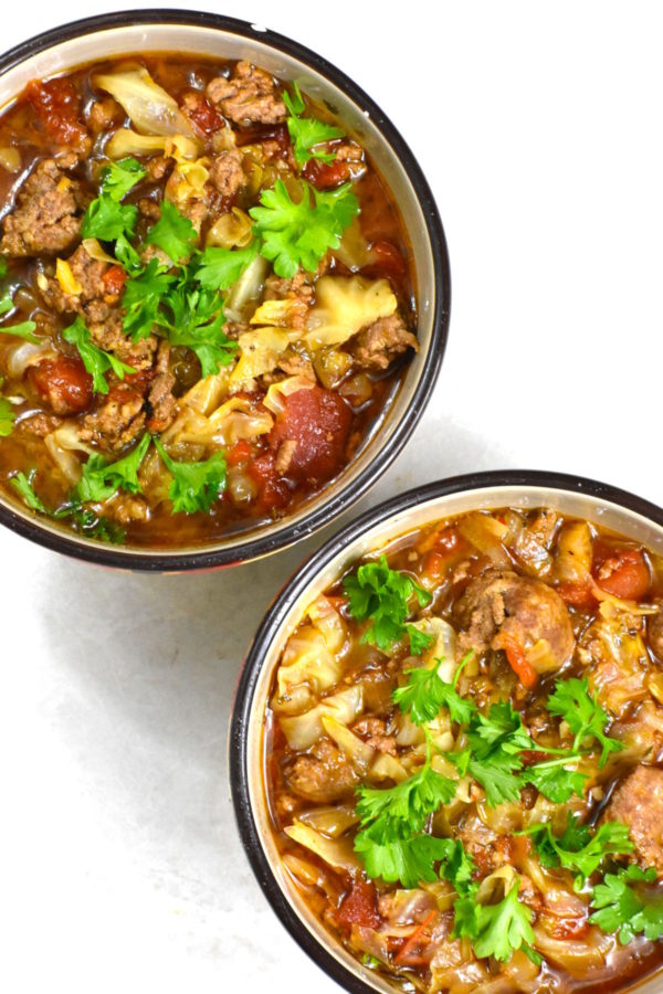 45 BEST Ground Beef Recipes - meaty cabbage soup.