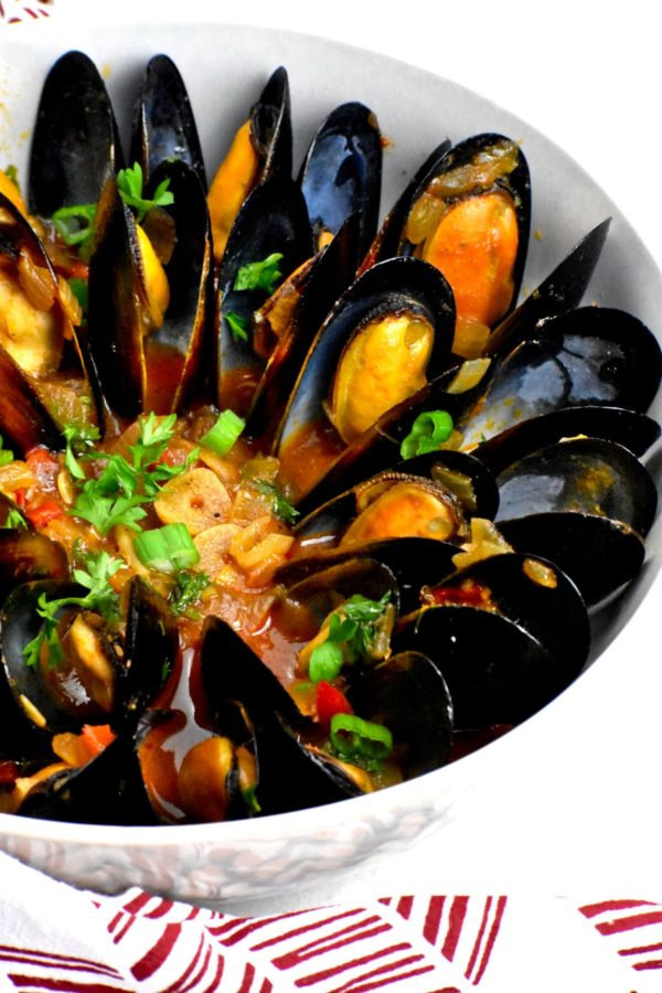 This delicious mussel recipe all served up in a bowl.