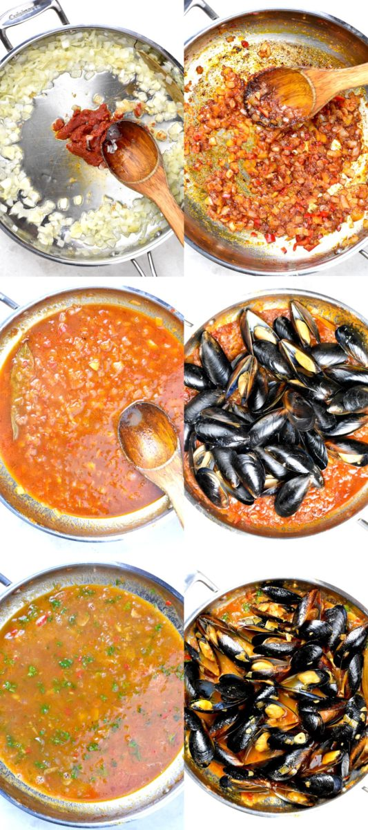 Collage of six images depicting the steps to make this dish.