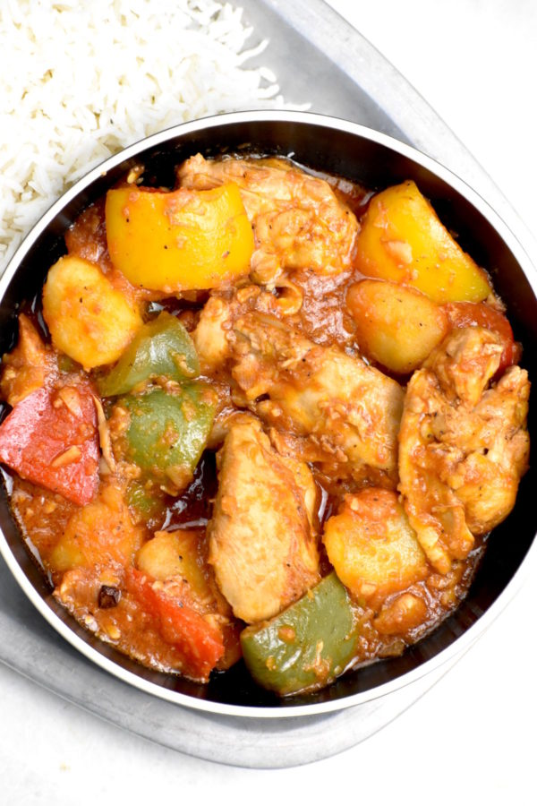 Closeup of this bowl of Filipino stew.