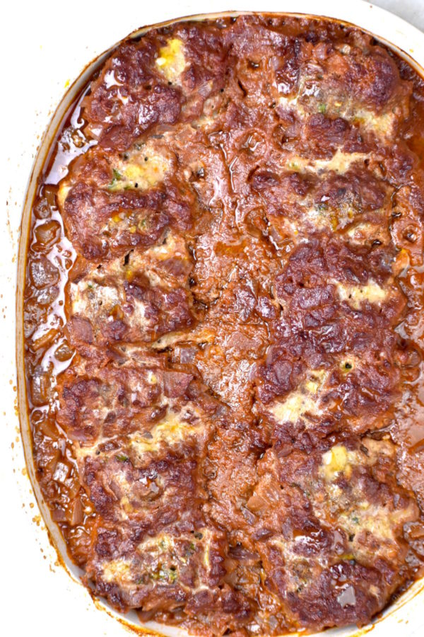Casserole dish of baked Soutzoukakia.