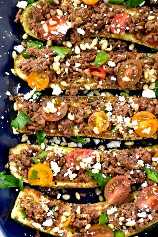 The 40 plus best Mediterranean recipes - Zucchini boats.