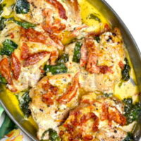 Crockpot Tuscan chicken.