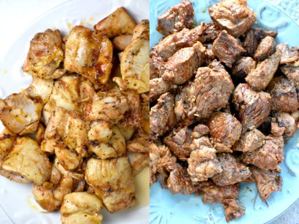 Two images of cooked meat chunks on a plate, one chicken and one beef.