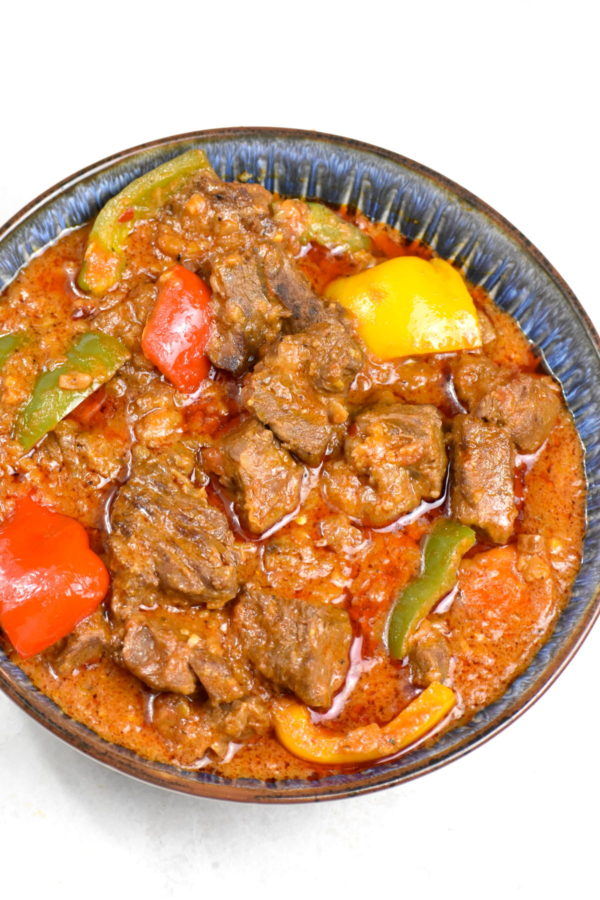 Another picture of the bowl of beef maafe.