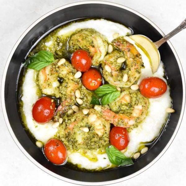 Pesto Shrimp and Grits