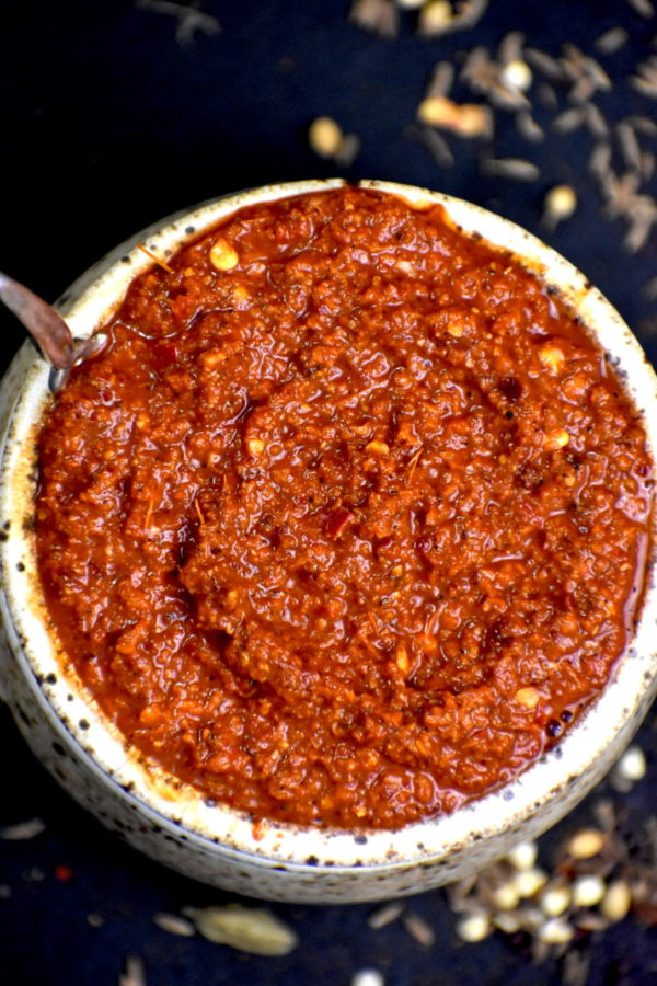 Another shot of the bowl of vindaloo paste.