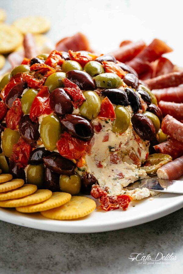 40 BEST Potluck Recipe Ideas - cheese ball antipasto.