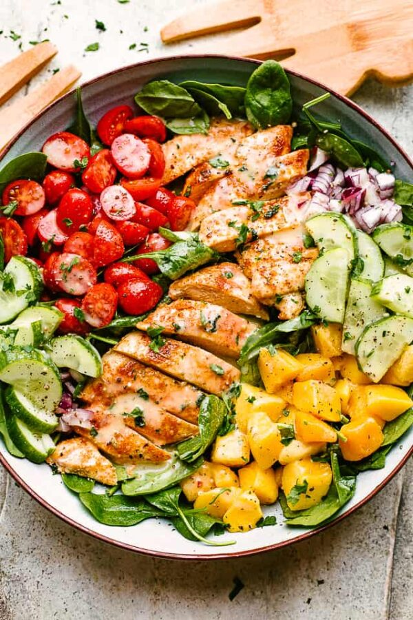 The BEST Mango Recipes - Mango chicken salad.