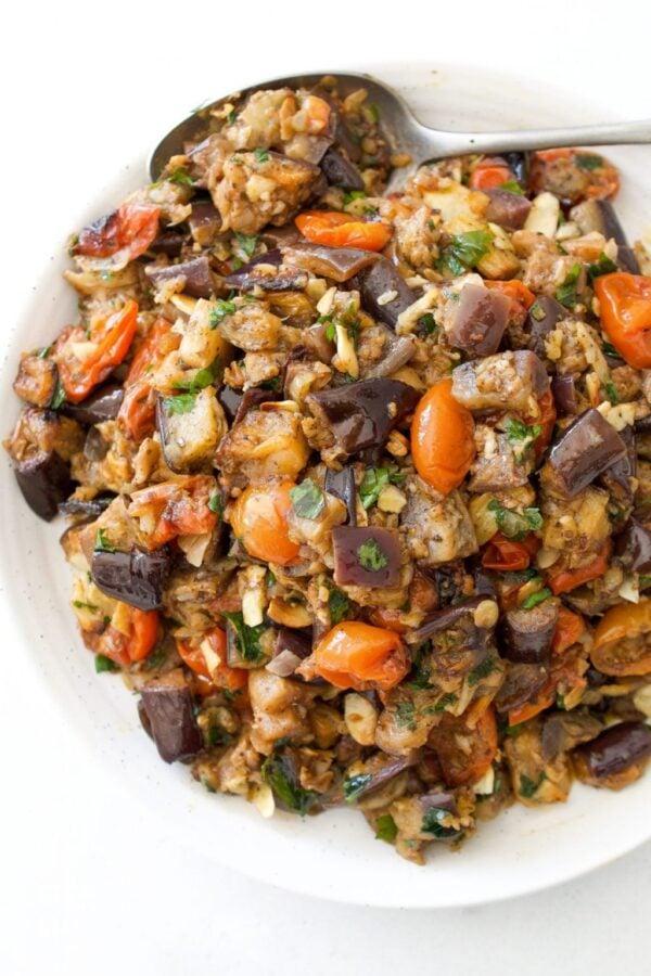 35 BEST Eggplant Recipes - roasted eggplant salad.