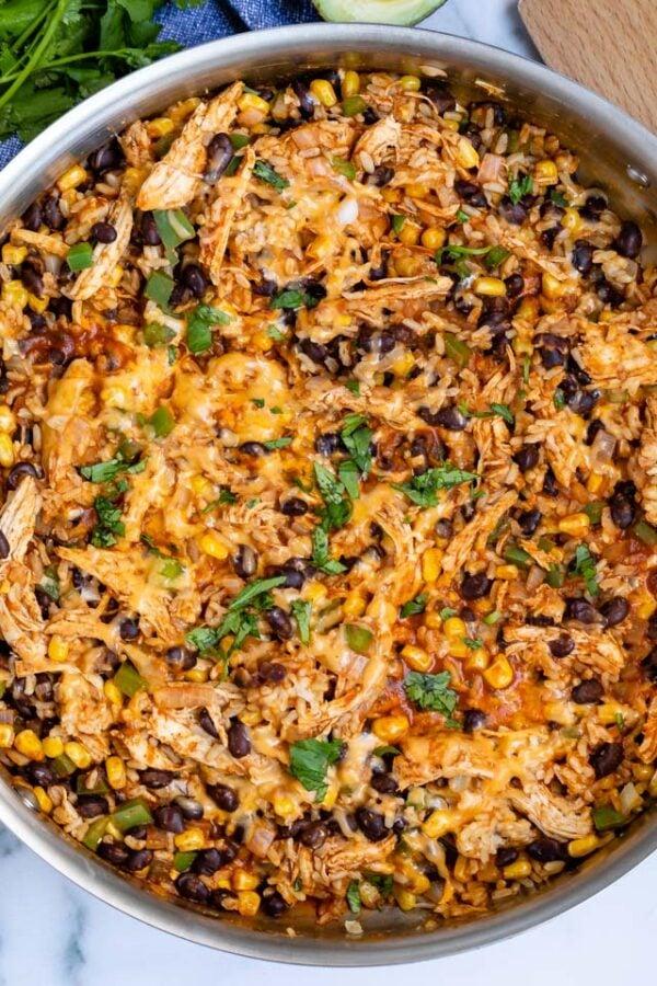The 35 BEST Leftover Chicken Recipes - enchilada skillet.
