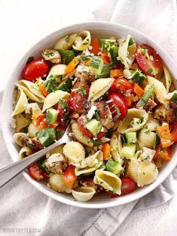 The 35 BEST Leftover Chicken Recipes - Greek chicken pasta salad.