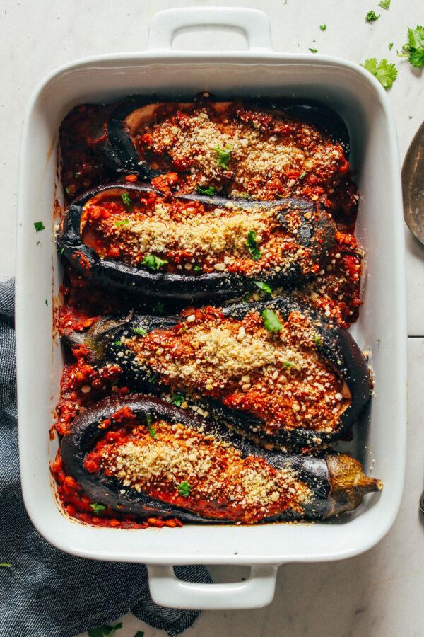 35 BEST Lentil Recipes - stuffed eggplant.