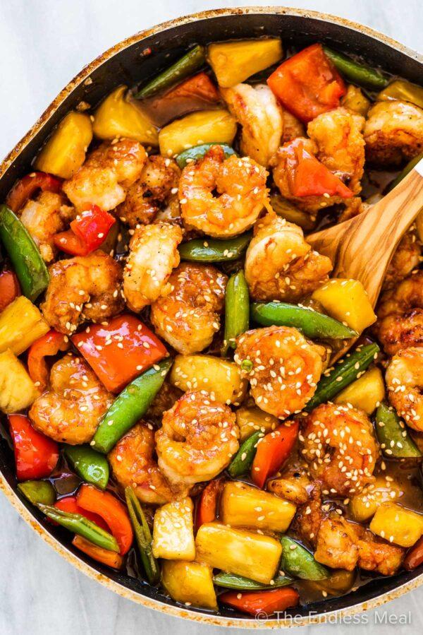 The 5 BEST Asian Recipes - pineapple shrimp stir fry.