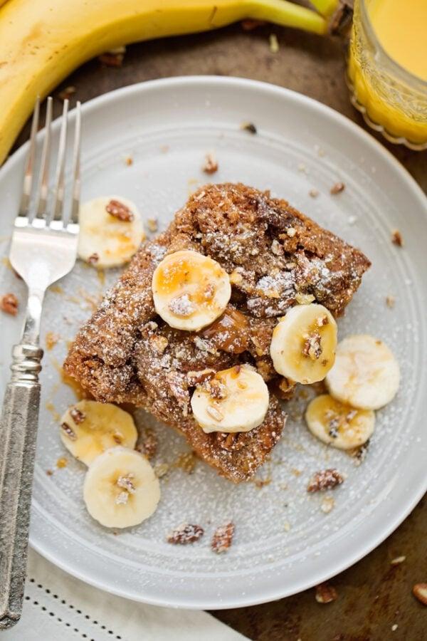 45 BEST Casserole Recipes - banana nut French toast casserole.