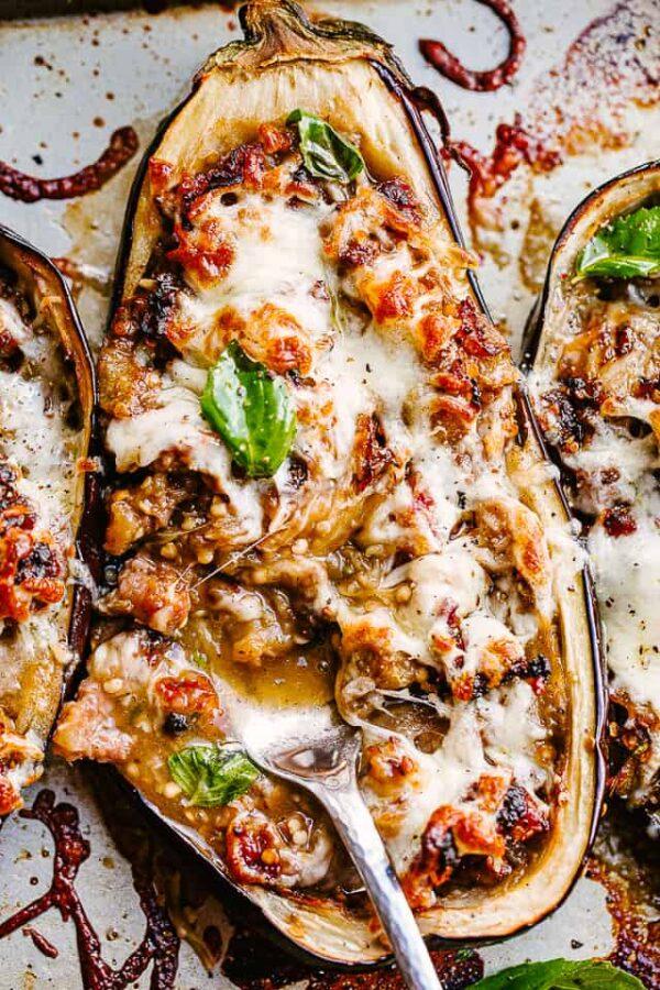 35 BEST Eggplant Recipes - sausage stuffed eggplant.