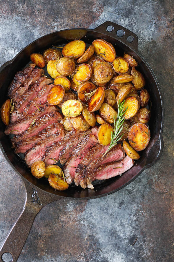The 45 BEST Potato Recipes - skillet steak with rosemary potatoes.