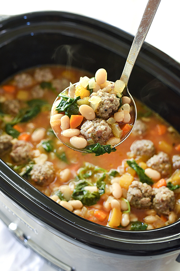 The 35 BEST Crockpot Soup Recipes - Tuscan white bean and sausage soup.