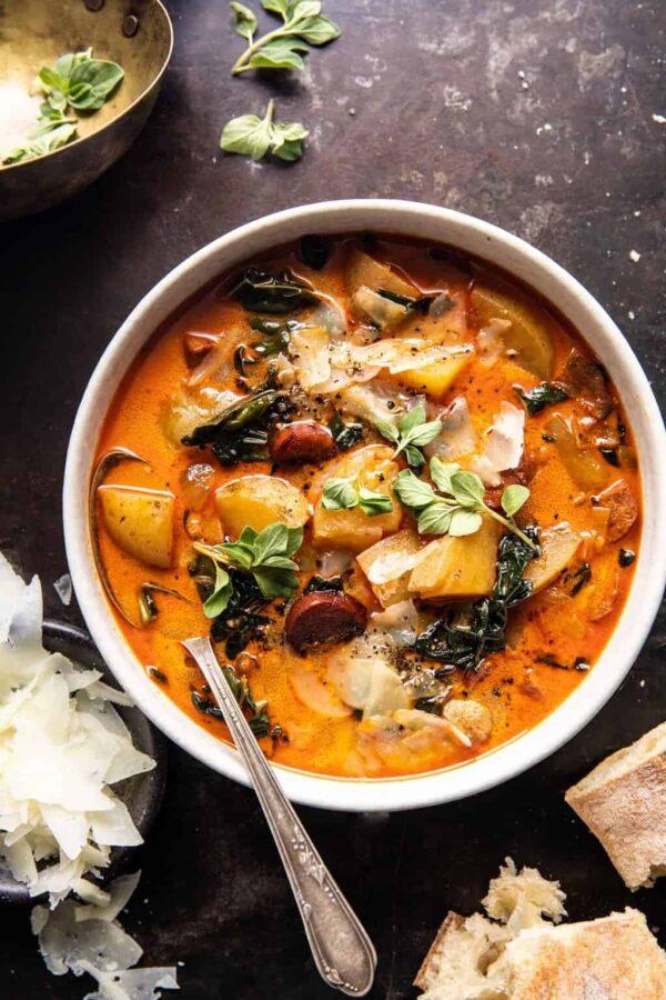 The 45 BEST Potato Recipes - creamy potato and kale soup.