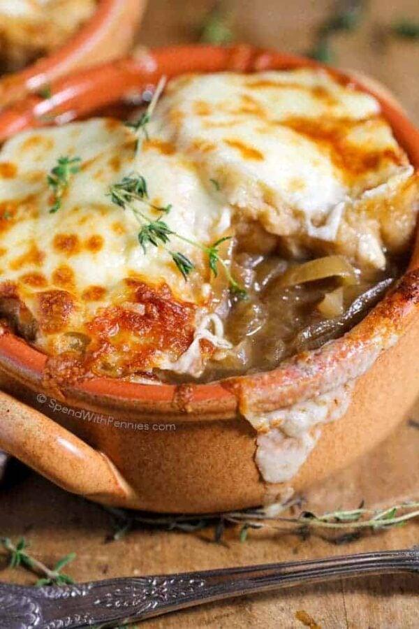 The 35 BEST Crockpot Soup Recipes - French onion soup.