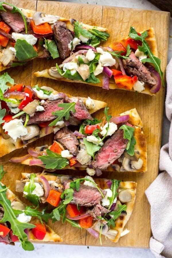 40 BEST Potluck Recipe Ideas - steak gorgonzola flatbread.