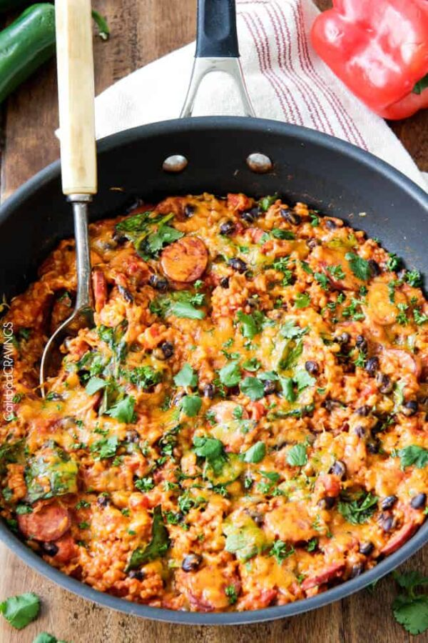 The 35+ BEST Sausage Recipes - Tex mex rice.