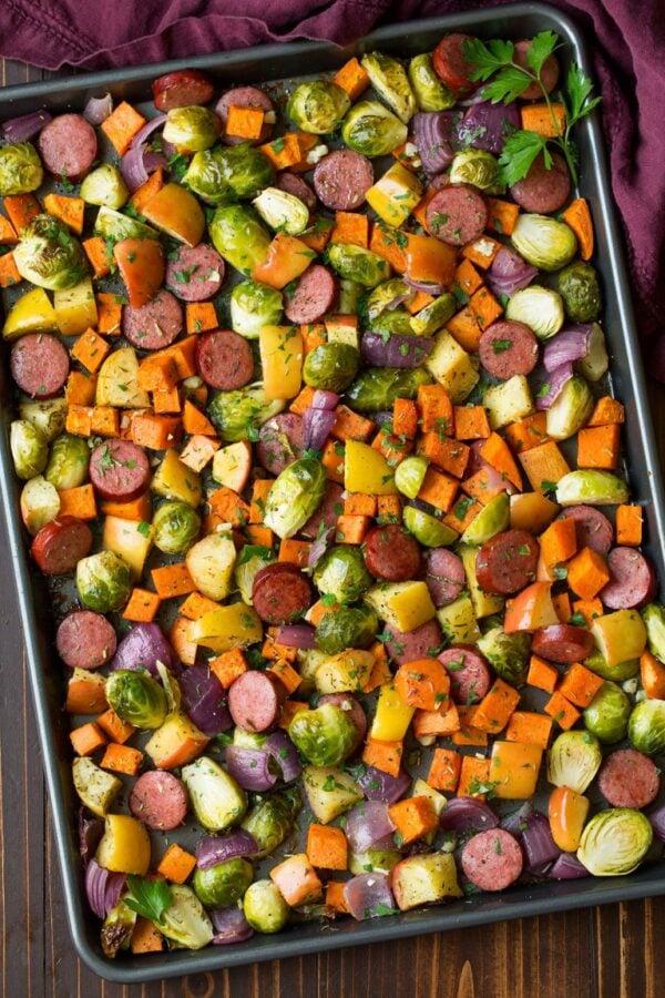 The 35+ BEST Sausage Recipes - Sheet pan dinner.
