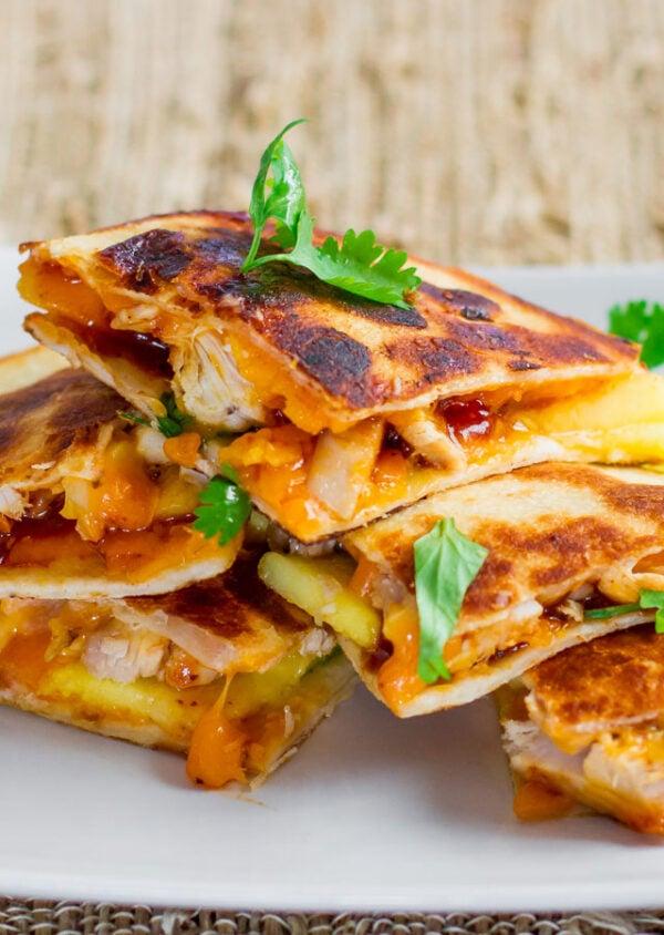 The BEST Mango Recipes - Chicken quesadillas.