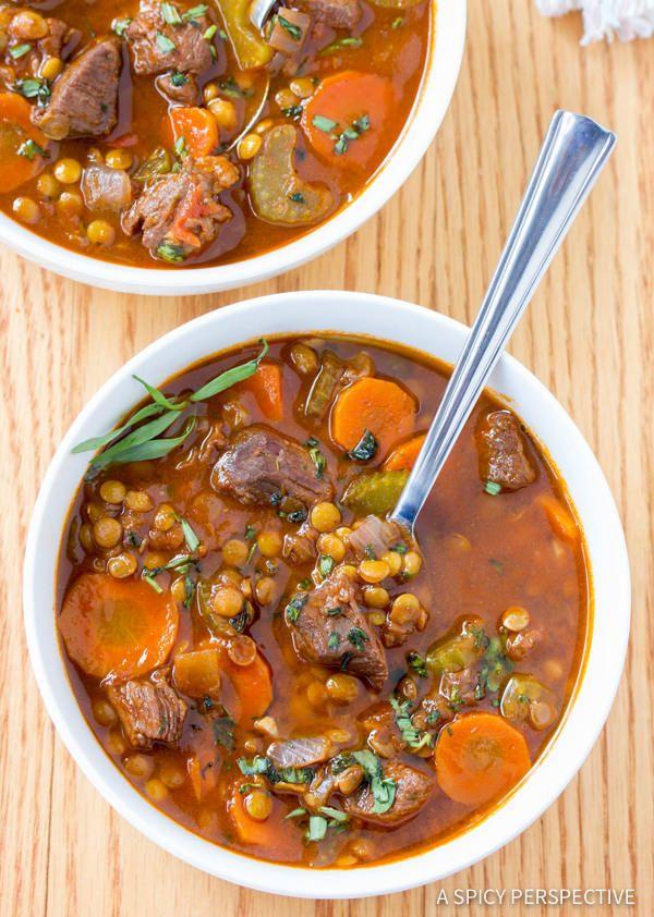 35 BEST Lentil Recipes - beef and lentil stew.