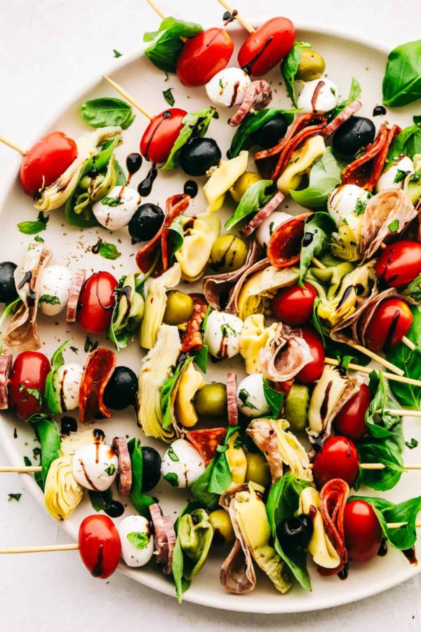The 25 BEST Cherry Tomato Recipes - Antipasto skewers.