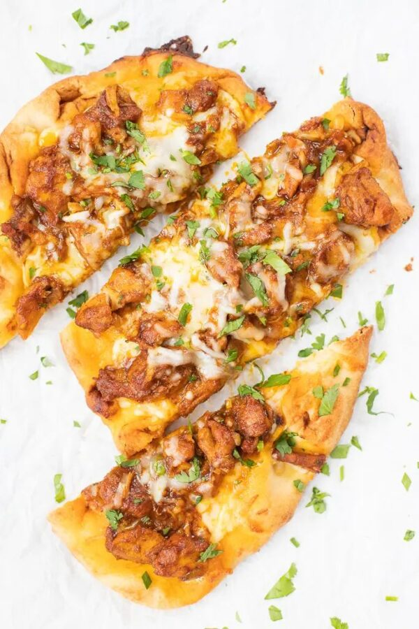 The 35 BEST Leftover Chicken Recipes - butter chicken pizza.