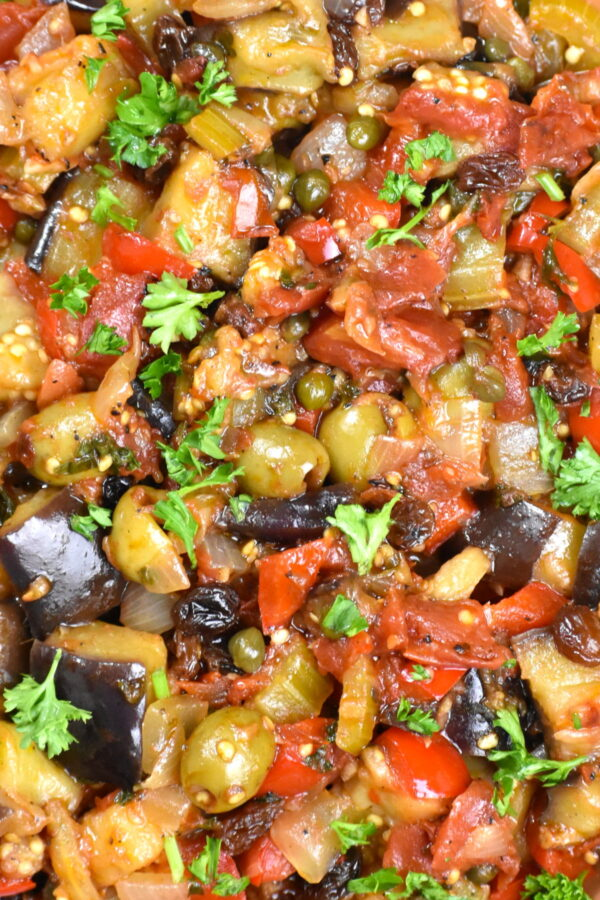 Extreme close up of this tasty eggplant dish.