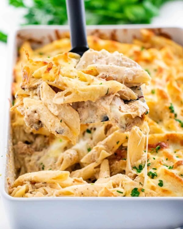 The 35 BEST Leftover Chicken Recipes - chicken alfredo bake.