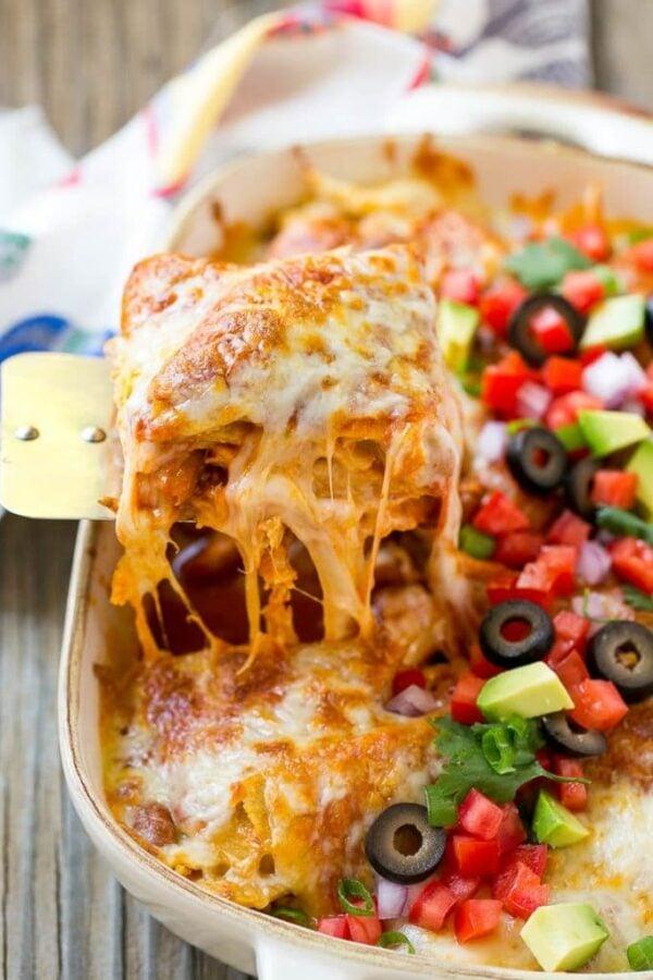 45 BEST Casserole Recipes - chicken enchilada casserole.
