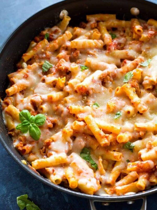The 30+ BEST Ground Chicken Recipes - Chicken parm pasta.