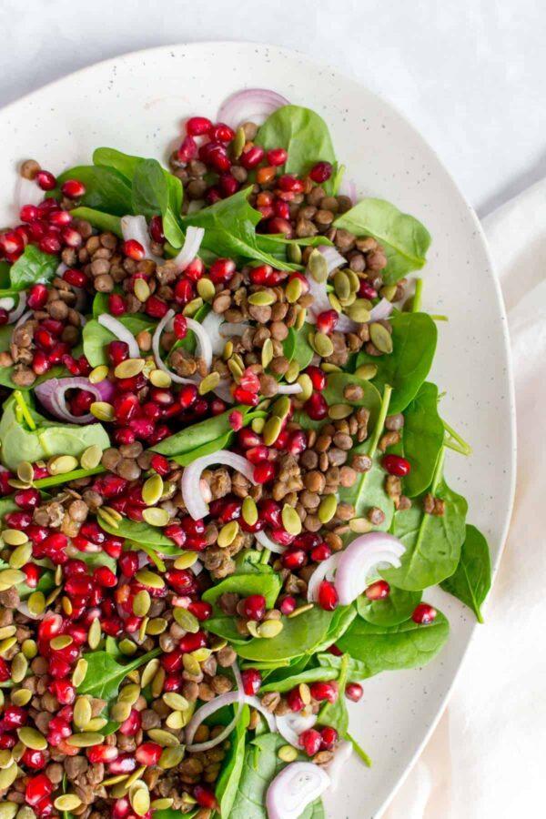 35 BEST Lentil Recipes - lentil salad with pomegranite.