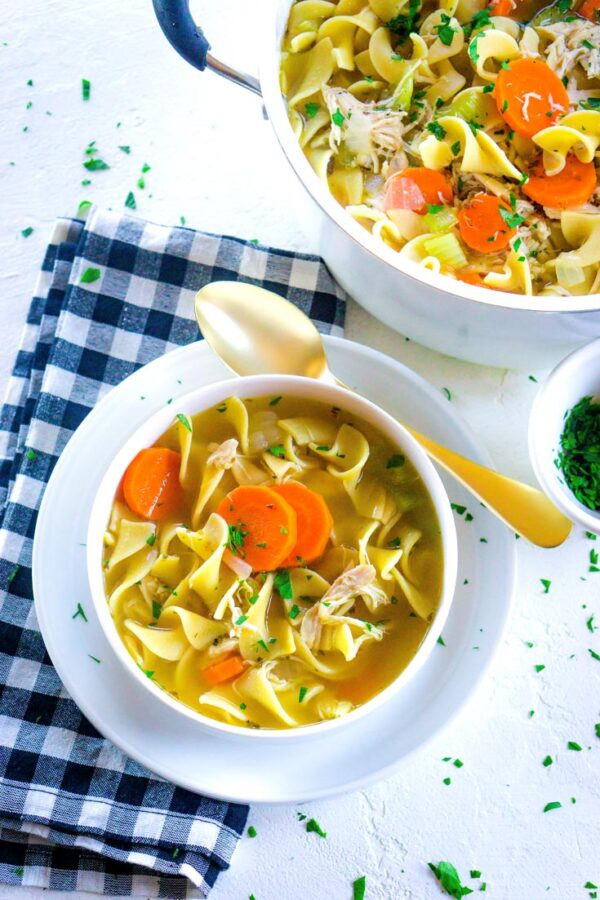 The 35 BEST Leftover Chicken Recipes - chicken noodle soup.