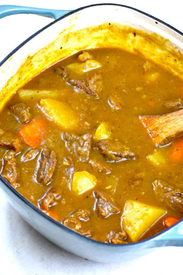 Finished potful of Japanese beef curry.