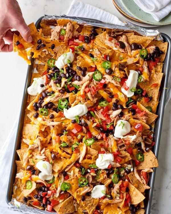 The 35 BEST Leftover Chicken Recipes - sheet pan nachos.