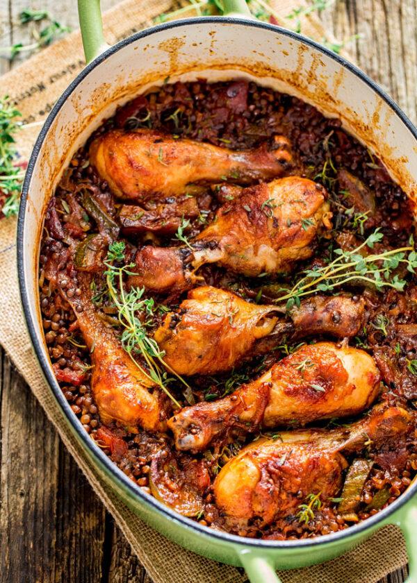 35 BEST Lentil Recipes - chicken with beluga lentils.