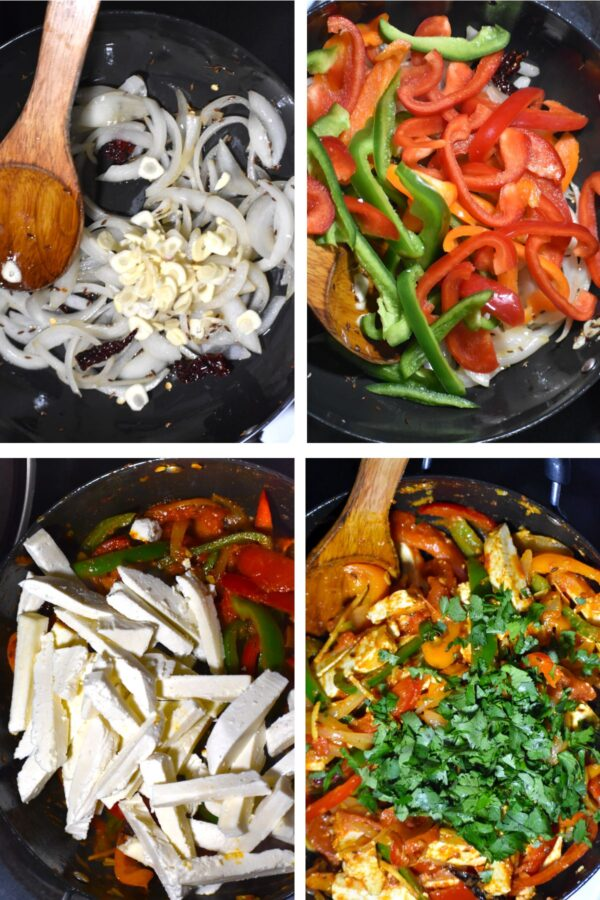 Collage of four steps of the stir fry process.