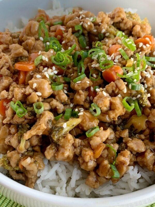 The 30+ BEST Ground Chicken Recipes - Teriyaki rice bowls.