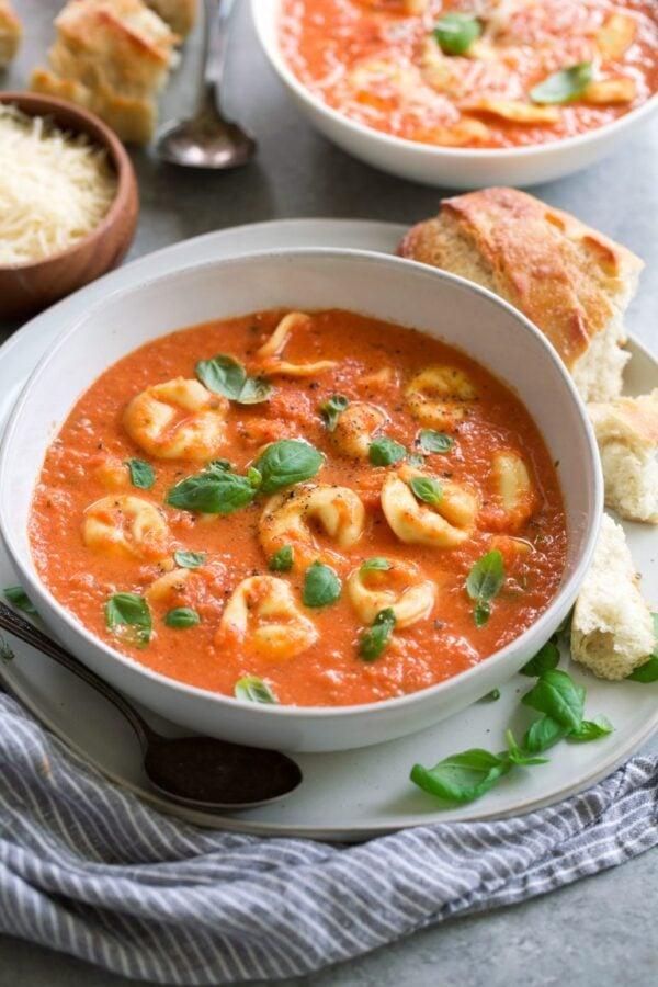 The 35 BEST Crockpot Soup Recipes - Tomato basil tortellini soup.
