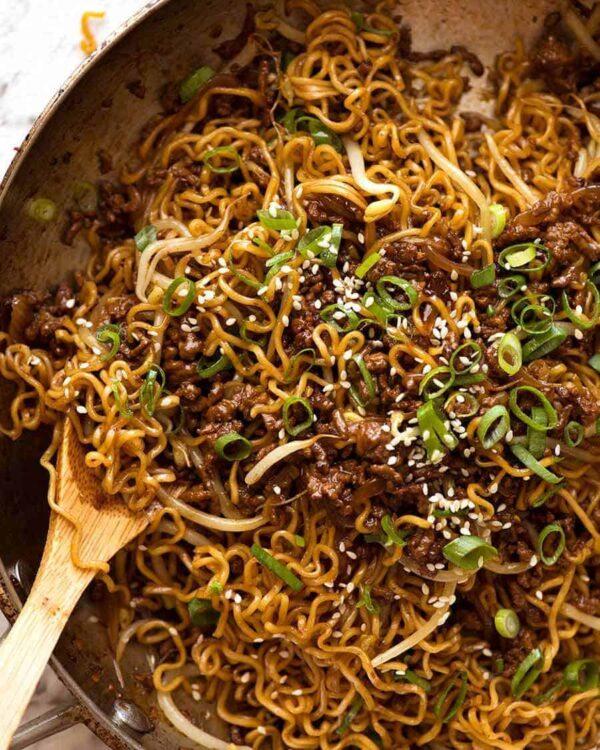 45 BEST Ground Beef Recipes - beef ramen noodles.